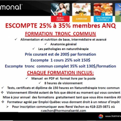 Hormonal santé - Escompte de 25% à 35% membres ANQ
